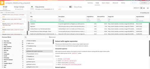 Interface d'une recette de préparation de données sous Dataiku